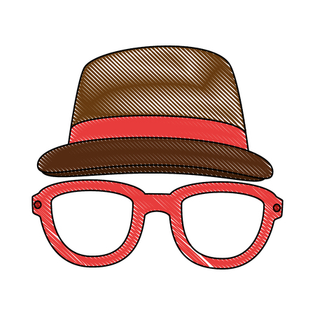 hat and glasses icon over white background colorful design vector illustration Illustration