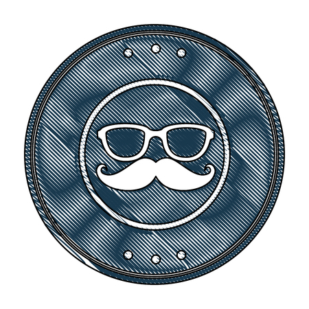 seal stamp with mustache and glasses icon over white background vector illustration Иллюстрация