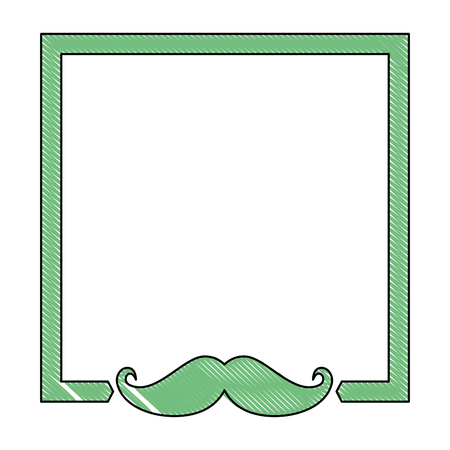 decorative frame with mustache icon over white background vector illustration