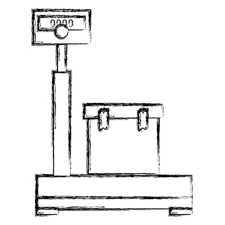 balance scale warehouse with box vector illustration design Ilustração