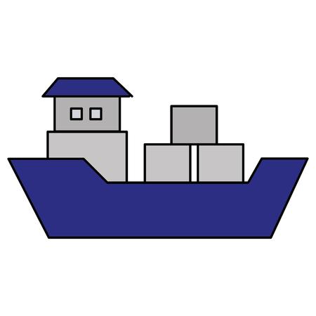 Disegno di illustrazione vettoriale dell'icona del carico di imbarcazione della nave Archivio Fotografico - 81657932