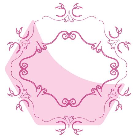 hexagonal shaped: Elegant Victorian with Hexagonal shape frame vector illustration design