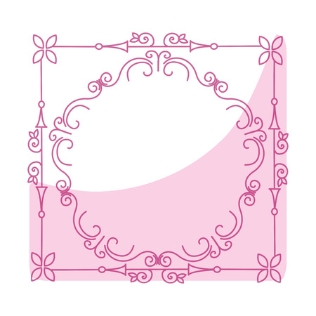 Elegant Victorian with square shape frame vector illustration design Illustration
