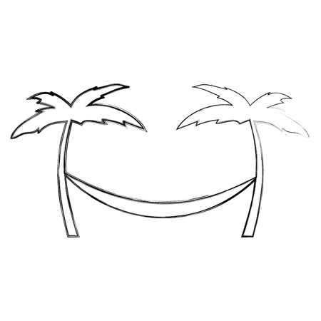 Tree palm beach with hammock illustration design Ilustrace