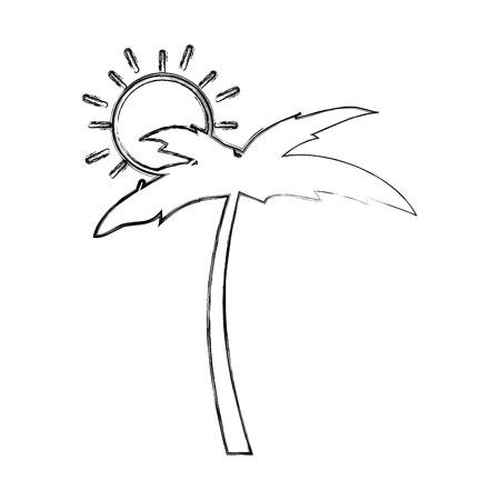 Palm met zonillustratieontwerp Stock Illustratie
