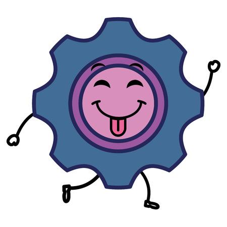 Gears machinery kawaii character vector illustration design