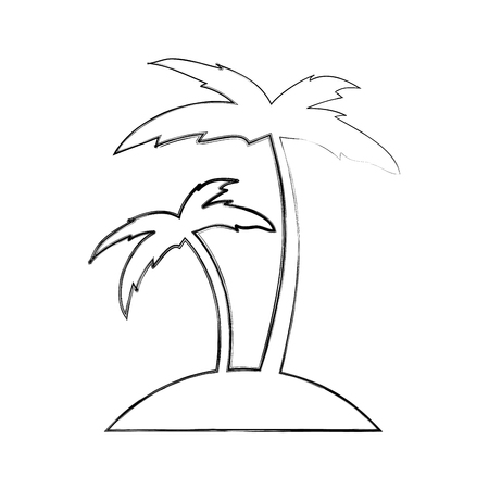 Tree palm beach icon illustration design 向量圖像