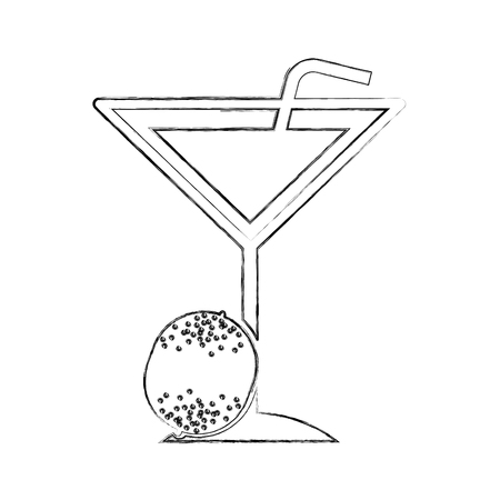 Tropical cocktail cup with straw illustration design Çizim