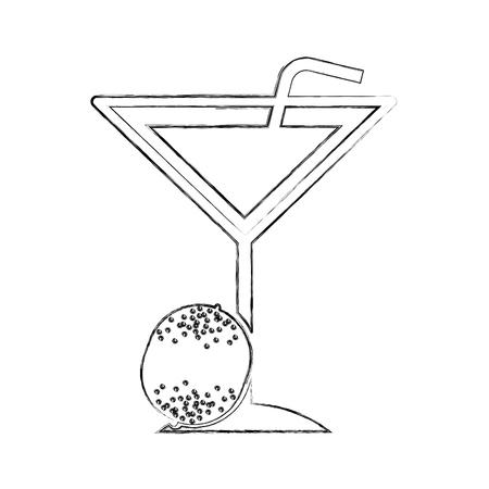 Tropische cocktailkop met het ontwerp van de stroillustratie