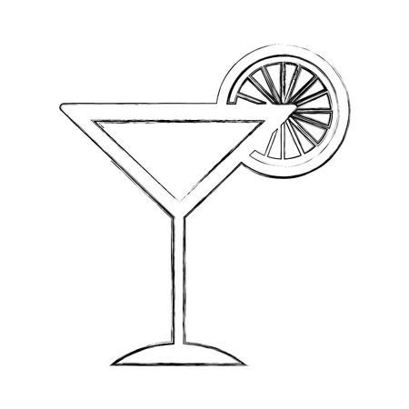 Tropische cocktailkop met oranje fruitillustratieontwerp