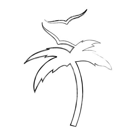 Het strand van de boompalm met het ontwerp van de zeemeeuwillustratie