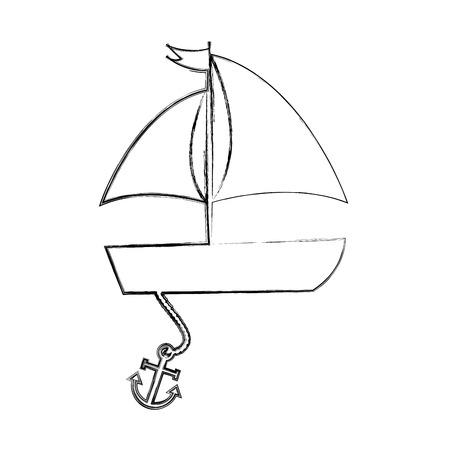 Illustratie van de het pictogramillustratie van de zeilboot het overzeese geïsoleerde