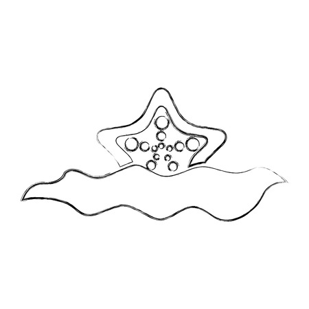 Starfish in water icon illustration design