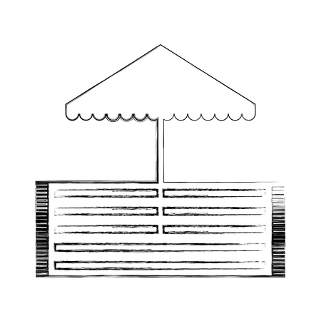 Beach umbrella with rug illustration design