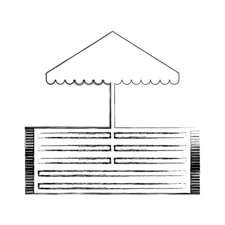 Beach umbrella with rug illustration design