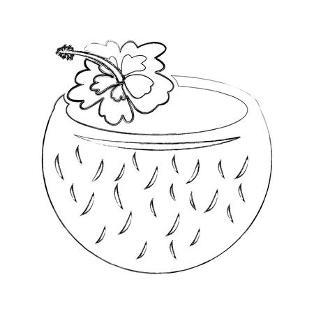 Kokosnotencocktail met de illustratieontwerp van de hibiscusbloem