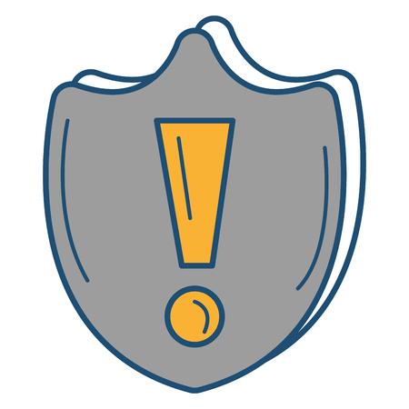 firewall: shield with alert symbol vector illustration design