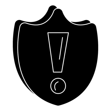 shield with alert symbol vector illustration design