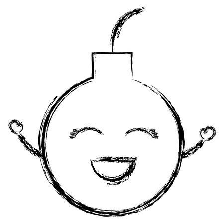Boom explosieve grappige karakter vector illustratie ontwerp