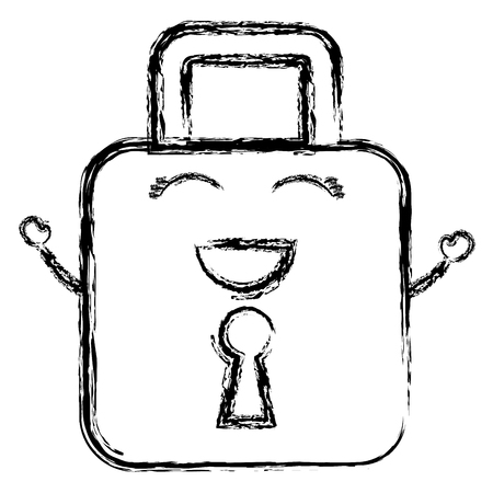 safe secure padlock character vector illustration design