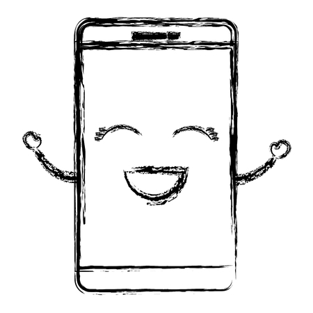 responsive: smartphone device character vector illustration design