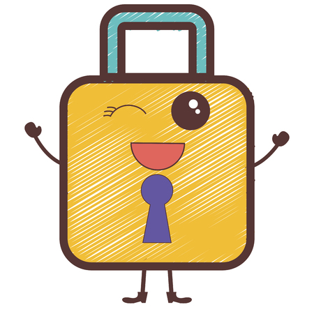 safe secure padlock character vector illustration design