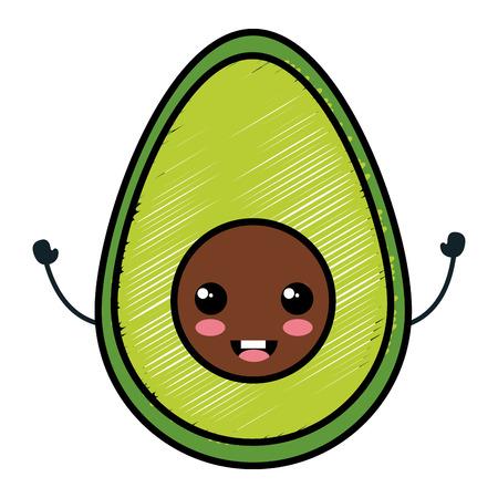 avocado fresh character vector illustration design