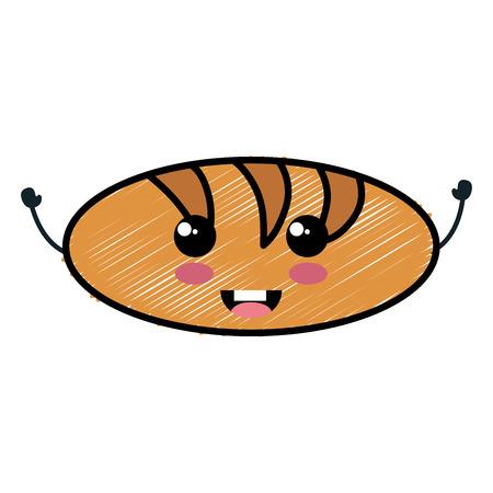 delicious bread  character vector illustration design