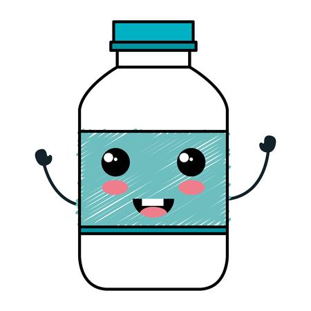 milk bottle character vector illustration design