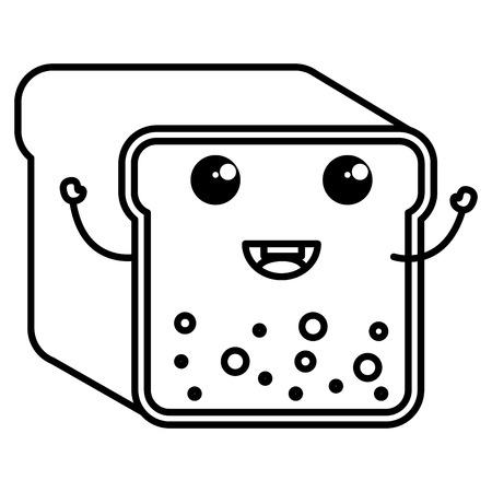 toast bread character vector illustration design Ilustração