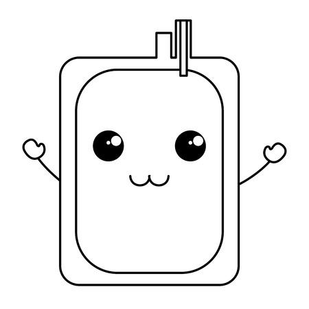 donate blood bag kawaii character vector illustration design Illusztráció