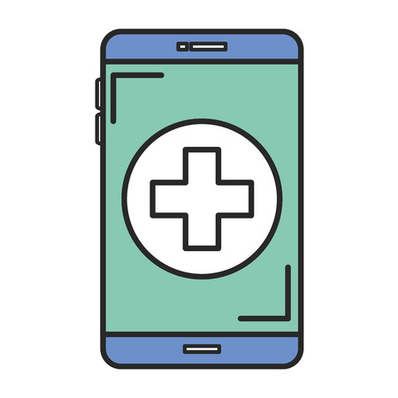 smartphone device with medical app vector illustration design