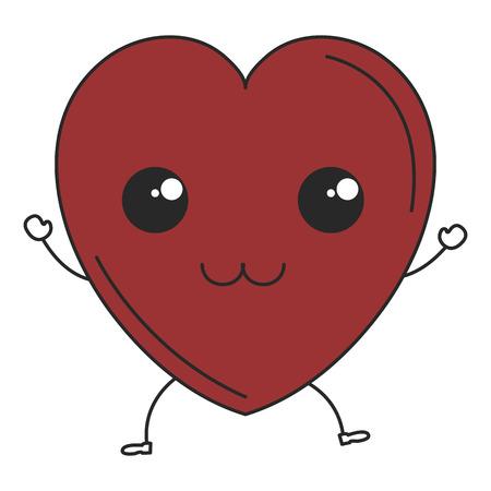 heart cardiology kawaii character vector illustration design Иллюстрация