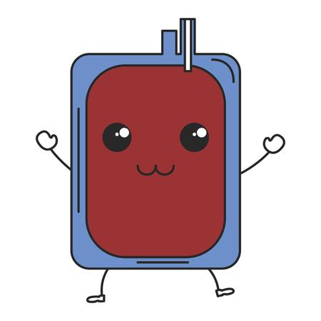 血液バッグかわいい文字ベクトル イラスト デザインを寄付します。