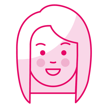 beautiful and young woman head character vector illustration design