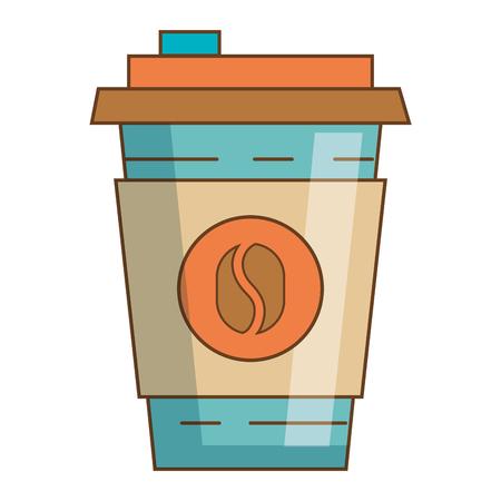 Koffie kopje plastic geïsoleerd pictogram vector illustratie ontwerp