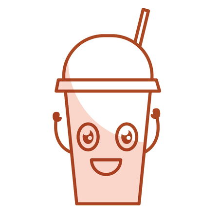 ice tea: coffee cup plastic character vector illustration design
