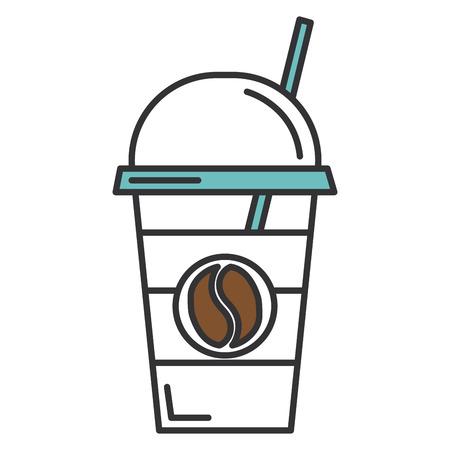 コーヒー カップ プラスチックの分離アイコン ベクトル イラスト デザイン