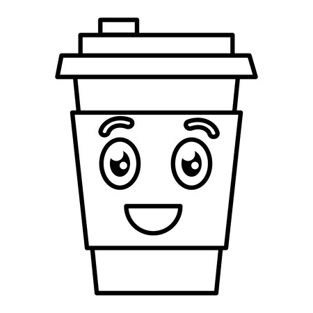 coffee cup plastic kawaii character vector illustration design Illustration
