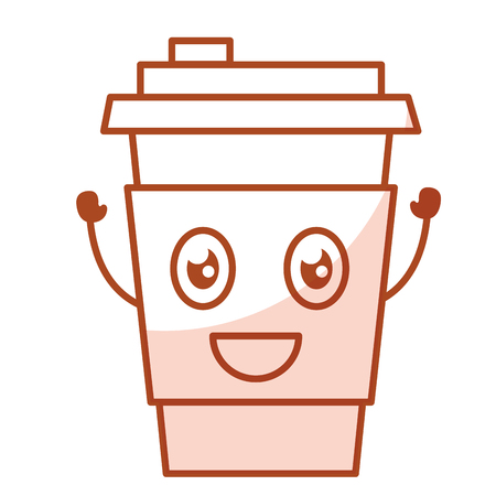 coffee cup plastic  character vector illustration design