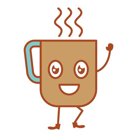 coffee mug kawaii character vector illustration design