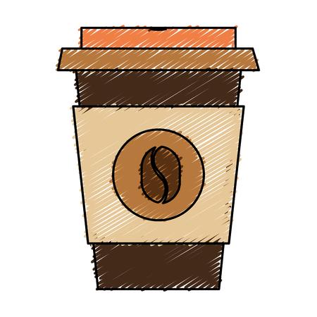 커피 컵 플라스틱 절연 아이콘 벡터 일러스트 디자인