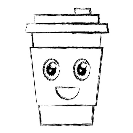 커피 컵 플라스틱 문자 벡터 일러스트 디자인
