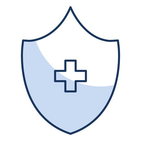 shield with cross icon vector illustration design Ilustração