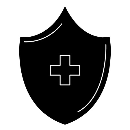 shield with cross icon vector illustration design 向量圖像