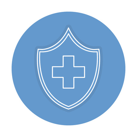 shield with cross icon vector illustration design Ilustrace