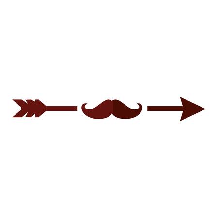 arrow with mustache icon vector illustration graphic design Illusztráció