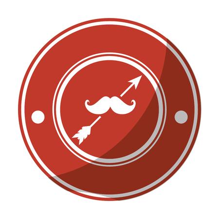 口ひげのアイコン ベクトル イラスト グラフィック デザインとスタンプをシールします。