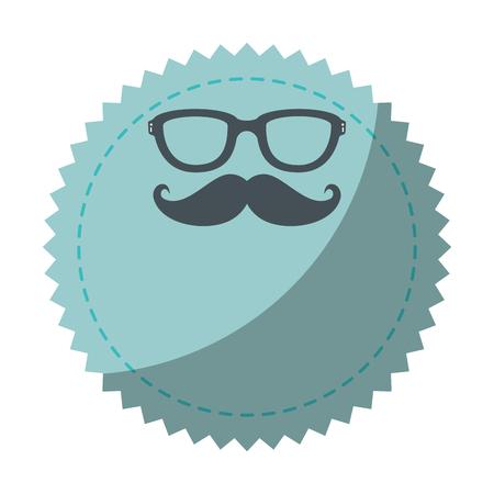 口ひげのアイコン ベクトル イラスト グラフィック デザインでシール スタンプ  イラスト・ベクター素材