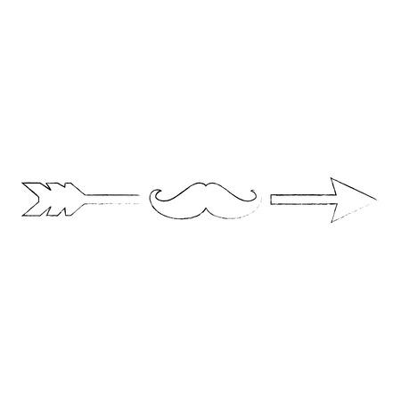 口ひげのアイコン ベクトル イラスト グラフィック デザインと矢印  イラスト・ベクター素材